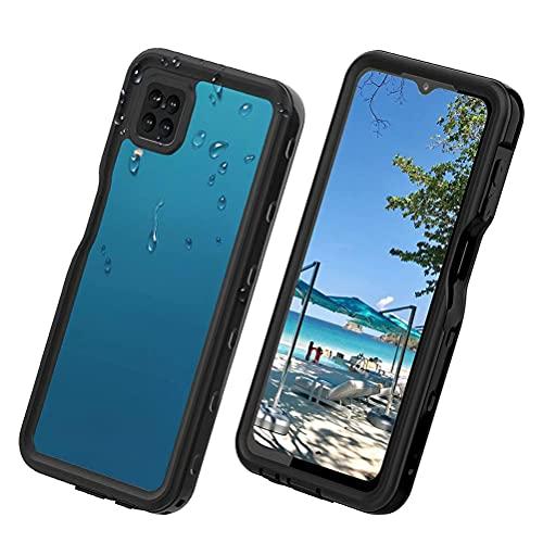 Lfdygcd Compatible con Samsung A12 funda impermeable, a prueba de polvo, a prueba de golpes, protector de pantalla integrado, carcasa completa para Galaxy A12, color negro y transparente