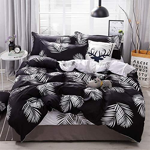 WONGS BEDDING Juego de sábanas Estampadas con 3 Hojas Tropicales Juego de sábanas Negro con Funda + 2 Fundas de Almohada (100% súper Microfibra, tamaño Doble 200 × 200 cm)