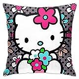 L.R.D Fundas de Cojín del Coche para Sofá Cama Zip Oculto Fundas de Almohada Hello Kitty y Flores 45 X 45 cm
