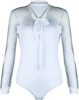 Mesh Tops Bodysuit for Women Long Sleeve Shirts Jumpsuit Transparent Playsuit