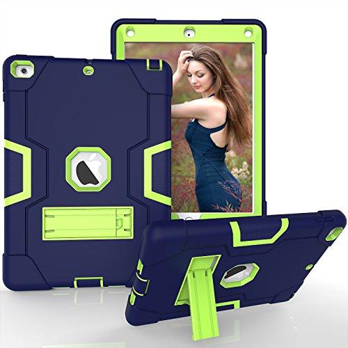 Nuovo iPad 24,6cm case, Beimu 3in1Combo ibrido Heavy Duty full-body Armor Defender ammortizzamento ad alto impatto resistente con cavalletto integrato per Apple iPad, 2017Released Navy+green