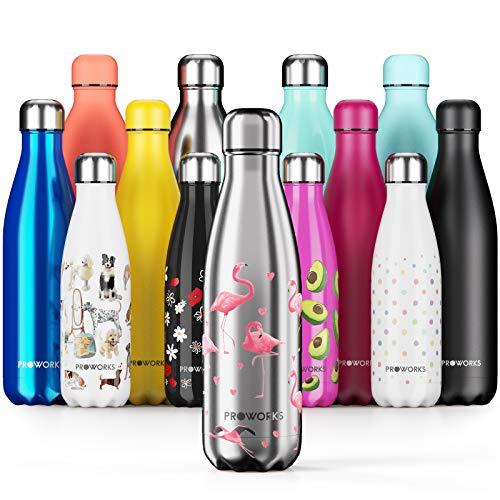 Proworks Botellas de Agua Deportiva de Acero Inoxidable   Cantimplora Termo con Doble Aislamiento para 12 Horas de Bebida Caliente y 24 Horas de Bebida Fría - Libre de BPA - 500ml – Plata - Flamenco