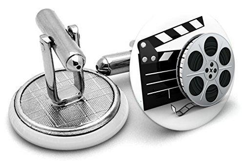 Hollywood Movie Film bobines boutons de manchette dans une boîte cadeau en étain 35 mm avec pochette de rangement