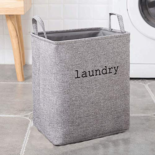 AINH Large Capacity Cotton Linen Laundry Hamper,Foldable Storage Laundry Basket With Handle,Breathable Durable Dirty Clothes Basket Gray 30x19x33cm(12x7x13inch)