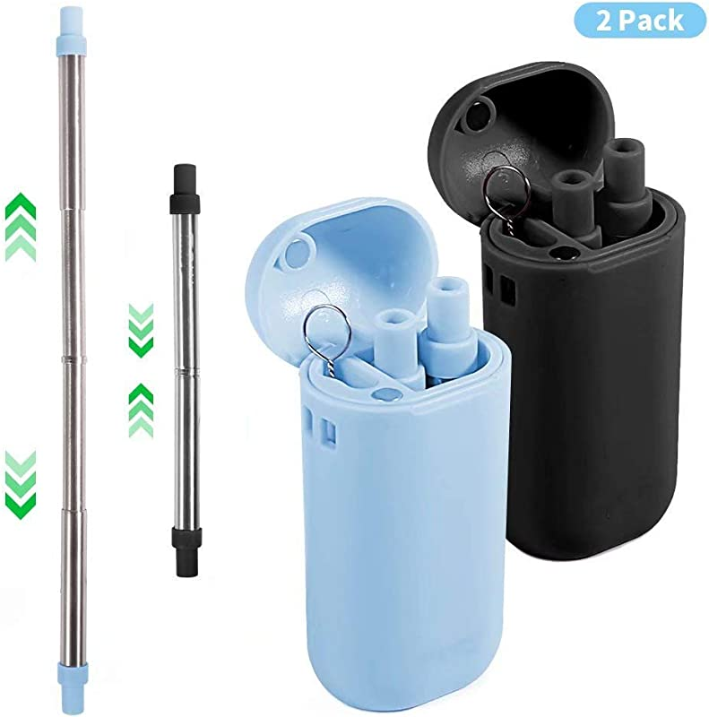 Collapsible Metal Straws With Case Reusable Drinking Straw Composed Of Stainless Steel And Food Grade Silicone Portable Set With Hard Case Holder And Cleaning Brush