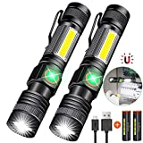 Hoxida USB Rechargeable Flashlight (Battery Included), Magnetic LED Flashlight, Super Bright LED Tactical Flashlight with Cob...