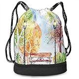 Printed Drawstring Backpacks Bags,Hand Drawn Watercolor Autumn Park Trees Shrubs...