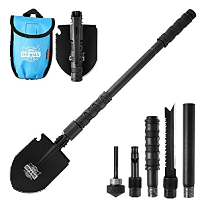Entrenching Tool Snow Shovel, CHINLIN Emergency Hammer Kit, Fire Stater, Portable Heavy Duty Survival Gear Multi-function Folding Shovel for Camping Backpacking Hiking Survival from CHINLIN