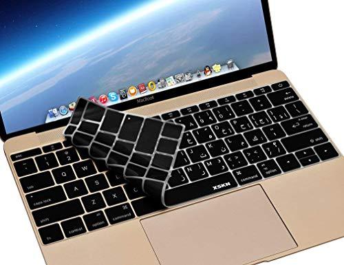 『MacBook 12(A1534)用のXSKNアラビア語言語のシリコーンカバー新しいMacBook Pro 13(A1708、No Touch Bar)キーボード - USレイアウト (ブラック)』の1枚目の画像