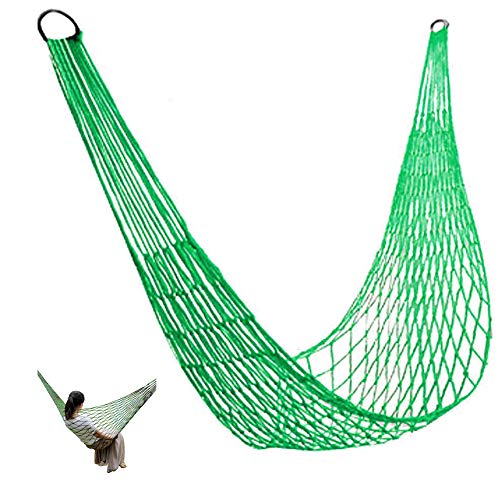 SIMUER Verde Hamaca de Nylon Red de Malla Colgante Cama de Dormir Oscilacion Viaje Camping al Aire Libre