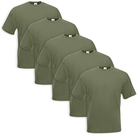 Set 5 T-Shirt Fruit Of The Loom (5 Pezzi Verde Militare - L - 5)