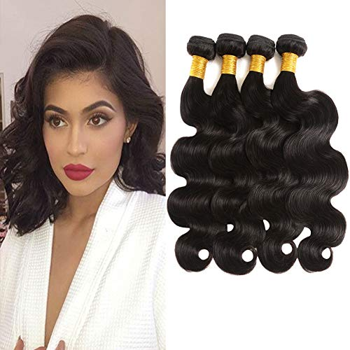 Huarisi 4 Bundles Brazilian Human Hair Body Wave Weave 7a Short Brazilian Hair Extensions Double Weft Hair 8 10 12 14 Inches