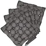 nxtbuy Flecht Stuhlkissen Braiding Primeur 40 x 40 cm 4er Pack - Premium Flechtkissen mit Halterungs-Bändern - geflochtenes Sitzkissen Stuhlauflage Sparset, Farbe:Grau