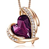 CDE Rose Gold Necklaces for Womans Valentines Day Jewelry Gifts for Her , Heart Pendants Embellished with Crystals Birthstone (Purple and Rose Gold Plated)