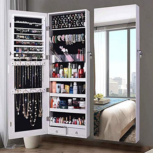 N \ A Jewelry Cabinet Large Mirrored Jewelry Armoire Organizer Mirror Wall Door Mounted Organizer Storage, Jewelry Cabinet Velvet Lining Protection, Separate Storage Compartments