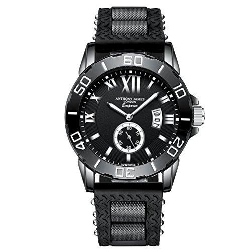 Anthony James Luxury Limited Edition Emperor Reloj de pulsera para hombre Oferta | Black Gun Metal Case | Calendario analógico de cuarzo | Correa de goma para deportes militares