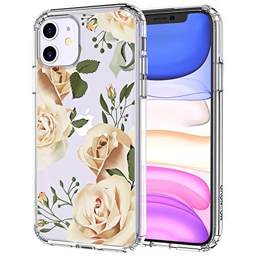 MOSNOVO iPhone 11 Hülle, Champagner Rosen Blühen Blumen Muster TPU Bumper mit Hart Plastik Hülle Durchsichtig Schutzhülle Transparent für iPhone 11 (Champagne Roses)