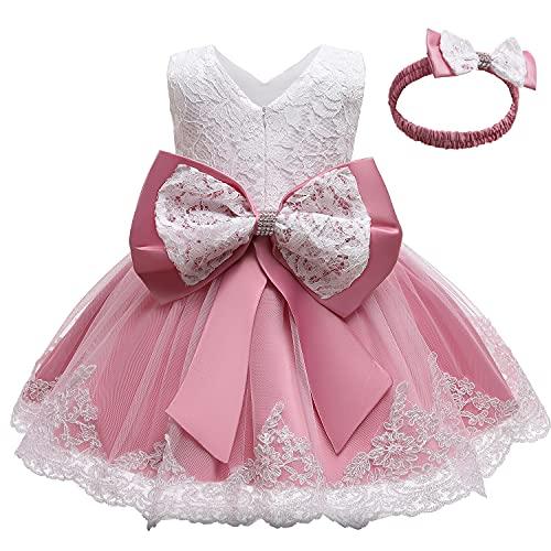 TTYAOVO Bebé Boda Bautismo Bautizo Tutu Vestido Chicas Princesa Vestir Talla(110) 3-4 Años 648 Rosa Profundo