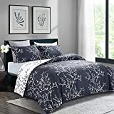 HOMBYS Comforter Set Twin Navy Blue and White Reversible 2 Piece Duvet Insert with 1 Pillowcases-Ultra Soft- All Season Floral Branch Printed Gray Bedding Hypoallergenic Down Alternative Microfiber