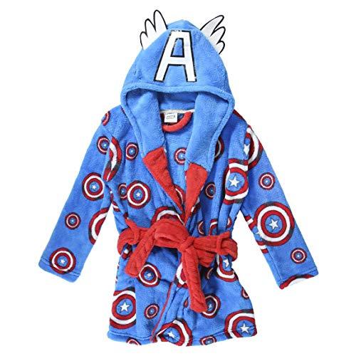 CERDÁ LIFE'S LITTLE MOMENTS Bata de Casa Invierno del Capitán América-Licencia Oficial Marvel, Azul, 10 años para Niños