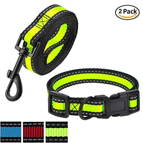 Mile High Life   Reflektierendes Hundehalsband-Leinen-Set   Kleines Hundehalsband   Mittleres Hundehalsband   Verstellbares Halsband Leinenset (LimeGreen2, Mittlerer Halsumfang 33-43,2 cm – 18,1 kg)