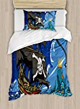Ambesonne Pirate Duvet Cover Set Twin Size, Caribbean Waters Adventure Time Volcano with Sea Storm Skull Island Jolly Roger, Decorative 2 Piece Bedding Set with 1 Pillow Sham, Multicolor