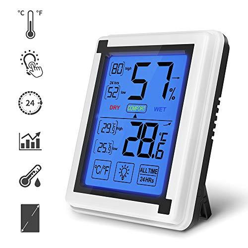 yidenguk Termómetro Higrómetro de Interior para Casa Ambiente Medidor de Temperatura y Humedad Digital Termohigrómetro Profesional con Pantalla Táctil y Retroiluminación