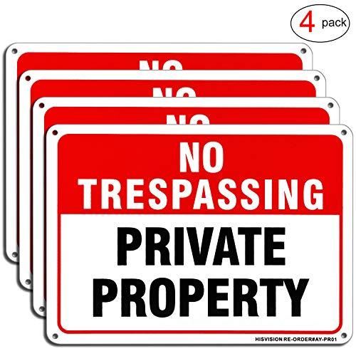 HISVISION Private Property No Trespassing Schild, 4 Stück, 25,4 x 17,8 cm, rostfrei, strapazierfähiges Aluminium, reflektierend, mit UV-Druck, professionelle Grafik, einfach zu montieren