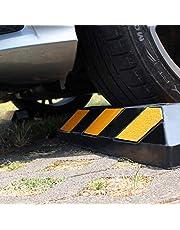 WilTec 2X Tope de Ruedas Aparcamiento 550x150x100mm con reflectores Negro-Amarillo Delimitar Parking