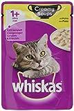 Whiskas Creamy Soups 1 + Alimento para Gatos, Pelo Sano, pienso húmedo en Diferentes sabores
