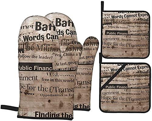 Media and Politics - Juego de guantes y soportes para ollas, resistentes al calor, guantes de cocina antideslizantes para parrilla, cocinar, hornear, barbacoa, microondas
