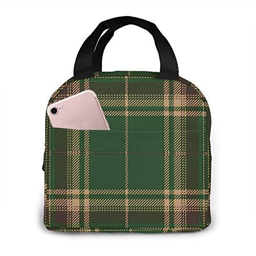Bolsa de almuerzo aislada portátil de tartán verde y marrón, impermeable, gran capacidad de viaje, para oficina, escuela, pícnic