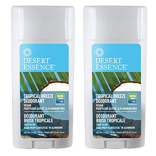Desert Essence Tropical Breeze Deodorant - 2.5 Oz - Pack of 2 - Long Lasting Protection - Fresh Tropical Scent - Tea Tree Oil - Propylene Glycol & Aluminum Free - Neutralize Body Odor - Antiseptic