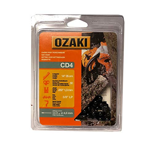 Ozaki Chaîne de tronçonneuse, Semi carrée, sous Coque: 3/8'LP - .050 (1,3mm) - 50 entraîneurs - Longueur : 14' / 35 cm