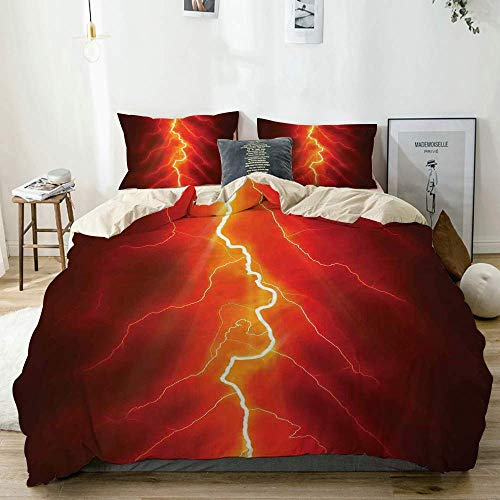 Jojun Duvet Cover Set Beige,Bolt Forked Against Dark Sky Thunderstorm Intense Electrical Rays Theme Nature,Decorative 3 Piece Bedding Set with 2 Pillow Shams Easy Care Anti-Allergic Soft Smooth