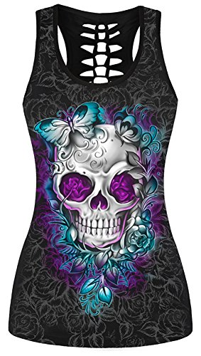 Sister Amy Women's Skull Print Hollow Out T-Shirt Crew Neck Plus Size Tank Top B-Butterfly Skull XL