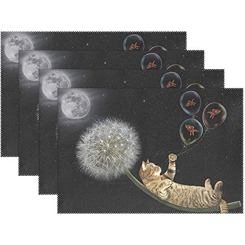 Water-wave grappige dierenplacemats, 6-delige set, kat op paardenbloem, vliegen in de nachthemel hittebestendige wasbare tafel placemats