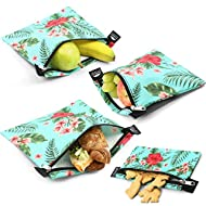Nordic By Nature 4 Pack - Reusable Sandwich Bags Dishwasher Safe BPA Free - Durable Washable Quick Dry Cloth Baggies -Reusable Snack Bags For kids school lunches - (Tropical Flowers)