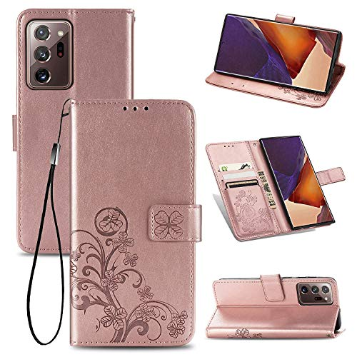 HTom's Village Floral Lucky Clovers Wallet Case for Samsung Galaxy Note 20 Ultra ID/Credit Card Slots PU Leather Magnetic Flip Cover Shockproof Flexible Soft TPU Bumper Slim Protective Cover Rose Gold