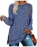 Aokosor Oversized Sweatshirts for Women Casual Loose Shirts Fall Tunic Long Sleeve Tops Blue XXL