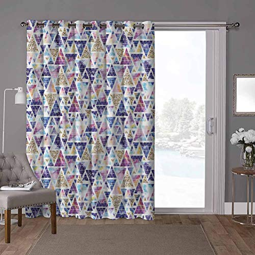YUAZHOQI Soundproof Room Divider Curtains, Geometric,Triangular Space Art, W100 x L84 Inch Room Darkening Drapes for Bedroom(1 Panel)
