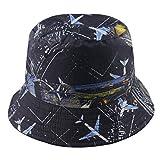 Sombrero De Cubo Al Aire Libre Reversible Negro Animal Floral Cráneo Imprimir Gorras De Pesca Hip Hop para Mujeres Hombre Sombreros De Pescador Primavera Verano-Aeroplano_58Cm