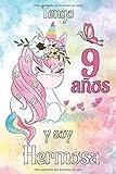 Tengo 9 Anos Y Soy Hermosa: Cuadernos De Dibujo De Unicornio Para Niños De 9 Años Para Dibujar Y Colorear (Spanish Edition)