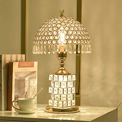 FREETT Lámpara de Mesa Cristal Lámpara de Escritorio LED Regulable, con Control Remoto, 3W Lámpara de Noche Dormitorio Vidrio, para Sala de Estar y Estudio, 3000-6000K,B