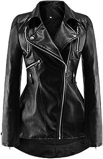 DISSA P18026 Women Faux Leather Biker Jacket Slim Coat Leather Jacket