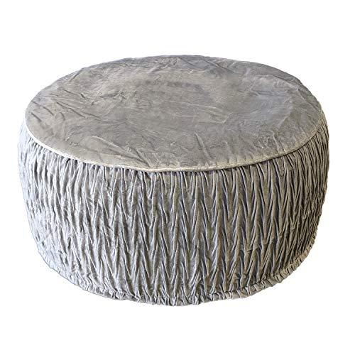 Sitzpouf Sitzhocker 'Paris' aufblasbar, Ø55x25cm, Grau - Fußhocker Kniehocker Polsterhocker Sitzpolster
