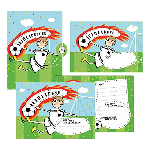 12 Einladungskarten Fußball zum Geburtstag für Jungs inkl. Umschläge | Geburtstagseinladungen für Kinder | Einladungen im Set für jeden Anlass + Kindergeburtstag, Fußball-Party