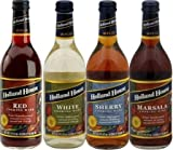 Holland House Cooking Wine 16oz Bottle (Pack of 4) Select Flavor Below (Sampler Pack - 1 Each of Red White Marsala & Sherry)