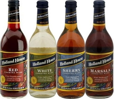 Holland House Cooking Wine 16oz Bottle (Pack of 4) Select Flavor Below (Sampler Pack - 1 Each of Red * White * Marsala & Sherry)
