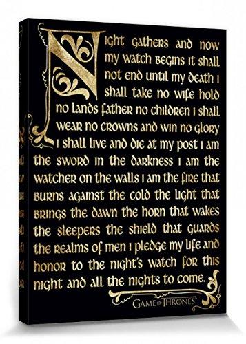 1art1 Game of Thrones - Der Eid Der Nachtwache Bilder Leinwand-Bild Auf Keilrahmen | XXL-Wandbild Poster Kunstdruck Als Leinwandbild 80 x 60 cm